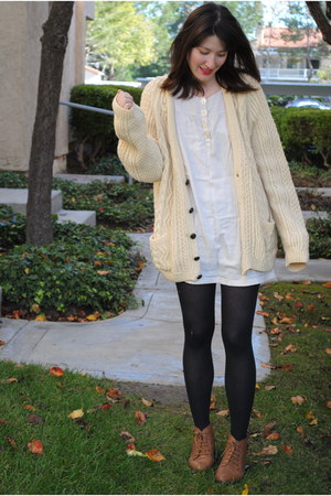 cream thrifted sweater - from japan dress - brown Urban Outfitters boots