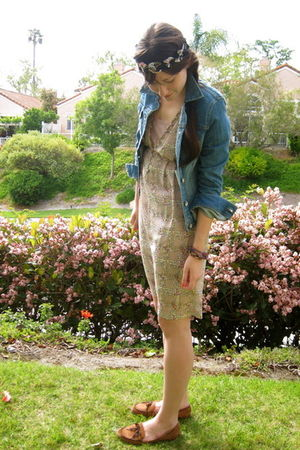 pink I heart ronson dress - blue Converse jacket - brown vintage shoes - black a