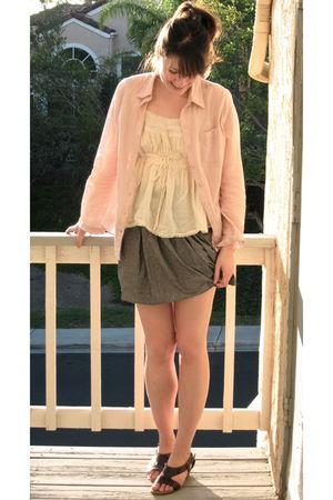 Forever 21 blouse - Zara shirt - American Apparel skirt - vintage from Salvation
