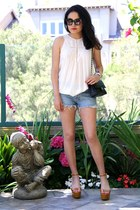 Theory top - Chanel bag - Ksubi shorts - Sergio Rossi wedges