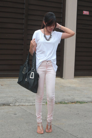 white Make  Model shirt - light pink Forever21 jeans