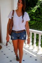 blue Bershka shorts - brown asos bag - brown STDR shoes - white Zara shirt