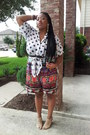 Mixed-print-shorts-polka-dot-blouse-leather-sandals