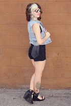 black fringe DIY shorts - light blue denim thrifted vest