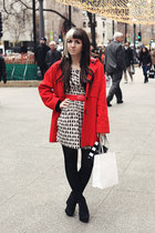 eggshell patterned H&M dress - ruby red vintage Pendleton coat