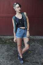 leather vintage top - ikat Osborn shoes - denim calvin klein shorts