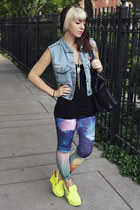 black leather Aldo bag - navy printed Urban Outfitters leggings