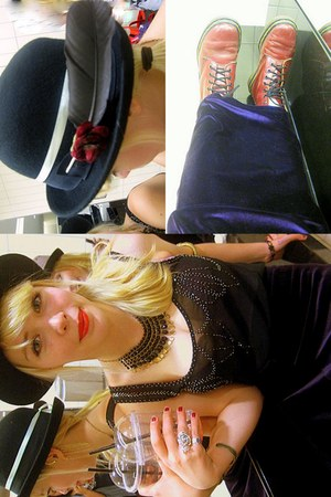brick red hand-me-down doc martens boots - black Sportsgirl hat - black black an