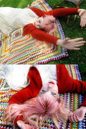 cream Princess Highway dress - light pink hair hairy hat - maroon River Clay Uni