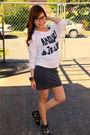 White-forever21-blouse-gray-forever21-skirt-black-bamboo-shoes-brown-urban