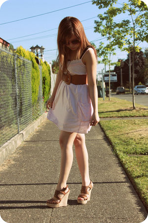 beige Heritage dress - beige Paprika shoes - brown Forever21 belt