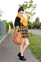 yellow Forever21 skirt - black Forever 21 shoes - yellow Forever 21 scarf