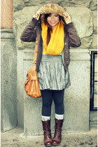 mustard Forever 21 scarf - brown Old Navy jacket - brown Forever 21 shoes