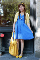 blue Forever 21 dress - yellow Forever 21 accessories - yellow Soda shoes