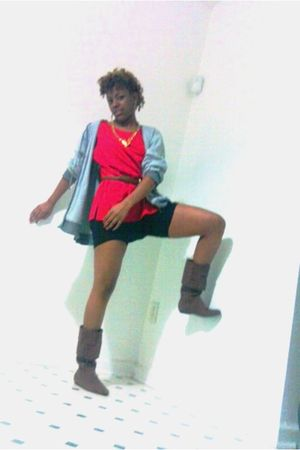 red dress - brown belt - black leggings - gold necklace - gray jacket - pink boo