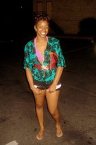 Thrift Store shirt - I made it shorts - Jcpenny swimwear - bare feet shoes shoes