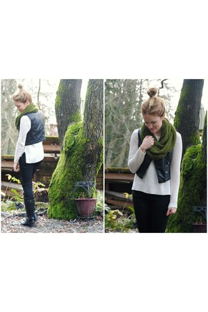 black leather H&amp;M vest - black Old Navy jeans - white knit Forever 21 sweater