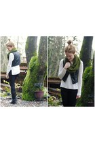 black leather H&M vest - black Old Navy jeans - white knit Forever 21 sweater