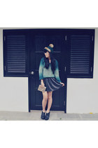 teal hat - black boots - turquoise blue sweater - black skirt