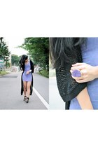 black maxi knitted amy cardigan - light purple dyed Topshop dress