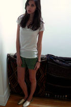 white Uniqlo t-shirt - green Forever 21 shorts - gold Forever 21 shoes
