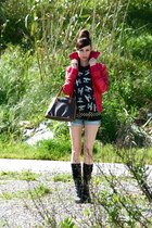 black heeld lace up bought online boots - red red leather Bershka jacket - light