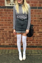 black bucket Zara bag - white thigh high American Apparel socks
