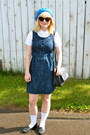 Navy-floral-nadinoo-dress-white-amercan-apparel-blouse-black-vintage-loafers