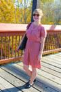 Bubble-gum-silk-sessun-dress-black-vintage-purse-black-tbar-topshop-loafers