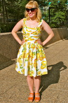 yellow Primark dress - Swedish Hasbeens heels