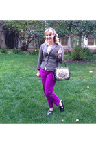 silver tweed H&M blazer - navy tapestry vintage purse