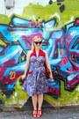 Blue-trashy-diva-dress-red-t-strap-miz-moo-heels