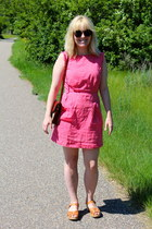 hot pink cotton Emily and Fin dress - nude Swedish Hasbeens heels