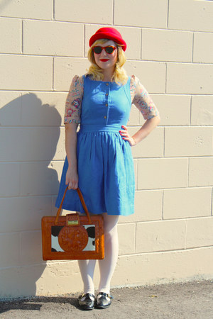 ruby red wool H&M hat - sky blue pinafore Jcrew dress