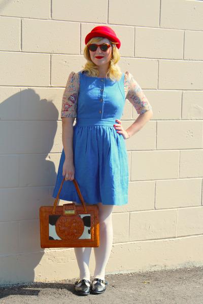 ruby red wool H&M hat - sky blue pinafore Jcrew dress