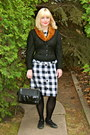 Black-gingham-peplum-vintage-dress-ivory-leather-vintage-bag