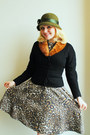 Tan-leopard-print-zara-dress-olive-green-vintage-hat