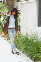 brown Zara bag - sky blue Levis jeans - army green Forever21 jacket