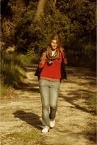 unknown brand vest - Agora Paris scarf - Pimkie t-shirt - Ralph Lauren jeans - S