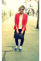 navy Zara jeans - cream H&M sweater - red Zara blazer - black Gate bag