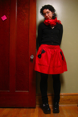 scarf - J Crew sweater - Gap top - asos skirt - tights - Sock Dreams socks