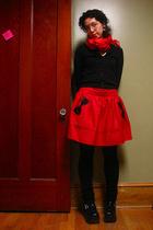 scarf - J Crew sweater - Gap top - asos skirt - tights - Sock Dreams socks