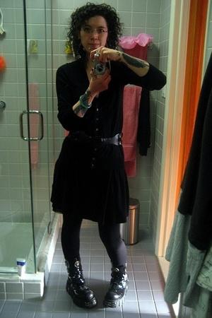 black cardigan J Crew sweater - black patent leather New Rock boots