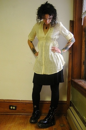 black Urban Outfitters dress - black New Rock boots - white kimchi & blue top