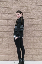 black Forever 21 leggings - black blazer - black Chanel lambskin 255 - black Jes