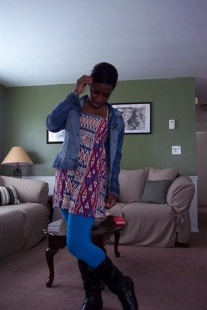 Forever 21 dress - Fergelicious boots - H&amp;M jacket - tights