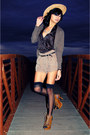 dark brown cardigan - tawny charles albert shoes - tan thift hat