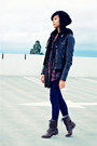 Brown-sm-new-york-boots-black-forever21-hat-dark-brown-forever21-jacket-bl
