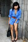 Blue-thrift-dress-brown-old-navy-belt-black-dsw-shoes-black-thrift-purse-