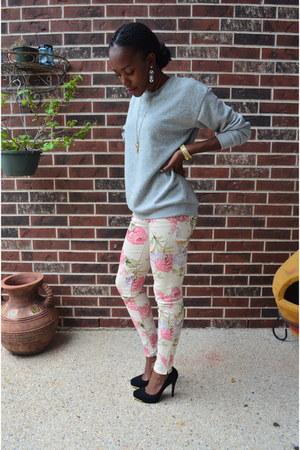 Forever 21 sweatshirt - floral print Ralph Lauren pants - BCBG heels